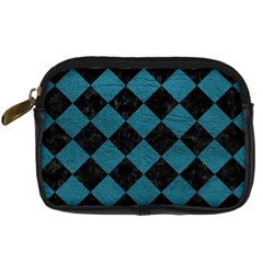 Square2 Black Marble & Teal Leather Digital Camera Cases by trendistuff