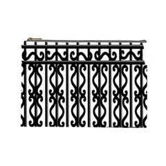 Inspirative Iron Gate Fence Grey Black Cosmetic Bag (large)  by Alisyart