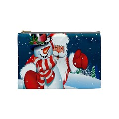 Hello Merry Christmas Santa Claus Snow Blue Sky Cosmetic Bag (medium)