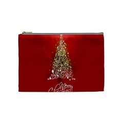 Tree Merry Christmas Red Star Cosmetic Bag (medium)  by Alisyart