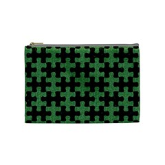 Puzzle1 Black Marble & Green Denim Cosmetic Bag (medium)  by trendistuff
