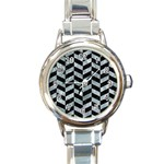 CHEVRON1 BLACK MARBLE & ICE CRYSTALS Round Italian Charm Watch