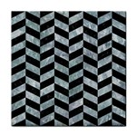 CHEVRON1 BLACK MARBLE & ICE CRYSTALS Tile Coasters