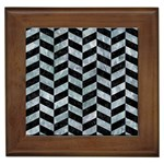 CHEVRON1 BLACK MARBLE & ICE CRYSTALS Framed Tiles