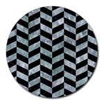 CHEVRON1 BLACK MARBLE & ICE CRYSTALS Round Mousepads