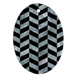 CHEVRON1 BLACK MARBLE & ICE CRYSTALS Ornament (Oval)