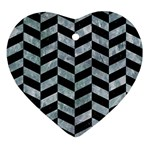 CHEVRON1 BLACK MARBLE & ICE CRYSTALS Ornament (Heart)