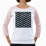CHEVRON1 BLACK MARBLE & ICE CRYSTALS Girly Raglans