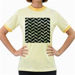CHEVRON1 BLACK MARBLE & ICE CRYSTALS Women s Fitted Ringer T-Shirts