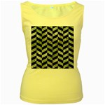 CHEVRON1 BLACK MARBLE & ICE CRYSTALS Women s Yellow Tank Top