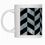 CHEVRON1 BLACK MARBLE & ICE CRYSTALS White Mugs