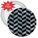 CHEVRON1 BLACK MARBLE & ICE CRYSTALS 3  Buttons (10 pack)