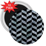 CHEVRON1 BLACK MARBLE & ICE CRYSTALS 3  Magnets (10 pack)