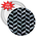 CHEVRON1 BLACK MARBLE & ICE CRYSTALS 3  Buttons (100 pack)