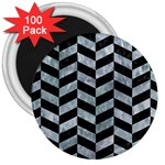 CHEVRON1 BLACK MARBLE & ICE CRYSTALS 3  Magnets (100 pack)