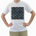 CHEVRON1 BLACK MARBLE & ICE CRYSTALS Men s T-Shirt (White) (Two Sided)