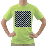 CHEVRON1 BLACK MARBLE & ICE CRYSTALS Green T-Shirt