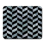 CHEVRON1 BLACK MARBLE & ICE CRYSTALS Large Mousepads