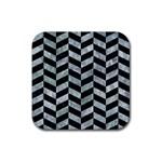 CHEVRON1 BLACK MARBLE & ICE CRYSTALS Rubber Coaster (Square)