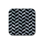CHEVRON1 BLACK MARBLE & ICE CRYSTALS Rubber Square Coaster (4 pack)