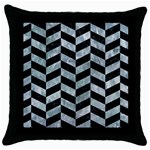 CHEVRON1 BLACK MARBLE & ICE CRYSTALS Throw Pillow Case (Black)
