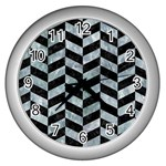 CHEVRON1 BLACK MARBLE & ICE CRYSTALS Wall Clocks (Silver)