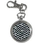 CHEVRON1 BLACK MARBLE & ICE CRYSTALS Key Chain Watches