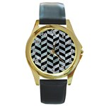 CHEVRON1 BLACK MARBLE & ICE CRYSTALS Round Gold Metal Watch