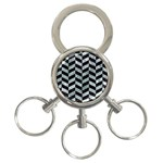 CHEVRON1 BLACK MARBLE & ICE CRYSTALS 3-Ring Key Chains