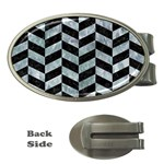 CHEVRON1 BLACK MARBLE & ICE CRYSTALS Money Clips (Oval)