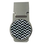 CHEVRON1 BLACK MARBLE & ICE CRYSTALS Money Clips (Round)