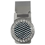 CHEVRON1 BLACK MARBLE & ICE CRYSTALS Money Clips (CZ)