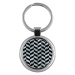 CHEVRON1 BLACK MARBLE & ICE CRYSTALS Key Chains (Round)
