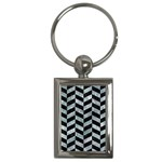 CHEVRON1 BLACK MARBLE & ICE CRYSTALS Key Chains (Rectangle)