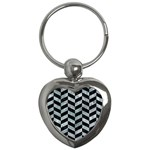 CHEVRON1 BLACK MARBLE & ICE CRYSTALS Key Chains (Heart)