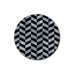 CHEVRON1 BLACK MARBLE & ICE CRYSTALS Rubber Coaster (Round)