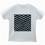 CHEVRON1 BLACK MARBLE & ICE CRYSTALS Kids White T-Shirts
