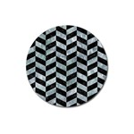 CHEVRON1 BLACK MARBLE & ICE CRYSTALS Magnet 3  (Round)