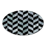 CHEVRON1 BLACK MARBLE & ICE CRYSTALS Oval Magnet