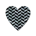 CHEVRON1 BLACK MARBLE & ICE CRYSTALS Heart Magnet