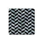 CHEVRON1 BLACK MARBLE & ICE CRYSTALS Square Magnet