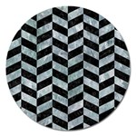 CHEVRON1 BLACK MARBLE & ICE CRYSTALS Magnet 5  (Round)