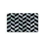 CHEVRON1 BLACK MARBLE & ICE CRYSTALS Magnet (Name Card)