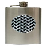CHEVRON1 BLACK MARBLE & ICE CRYSTALS Hip Flask (6 oz)
