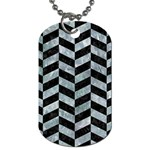 CHEVRON1 BLACK MARBLE & ICE CRYSTALS Dog Tag (Two Sides)