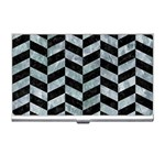 CHEVRON1 BLACK MARBLE & ICE CRYSTALS Business Card Holders