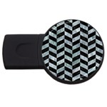 CHEVRON1 BLACK MARBLE & ICE CRYSTALS USB Flash Drive Round (2 GB)