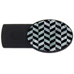 CHEVRON1 BLACK MARBLE & ICE CRYSTALS USB Flash Drive Oval (2 GB)