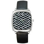 CHEVRON1 BLACK MARBLE & ICE CRYSTALS Square Metal Watch