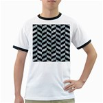 CHEVRON1 BLACK MARBLE & ICE CRYSTALS Ringer T-Shirts